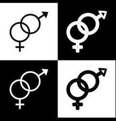 Sex symbol sign black and white icons and vector