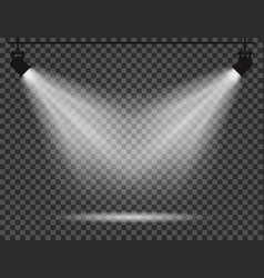 Spotlights with light beams on transparent vector