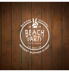 Summer biggest event label logo on wooden vector image