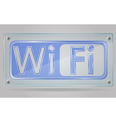 transparent sign wi fi on the plate 02 vector image