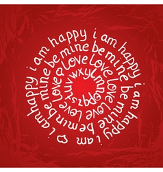 Valentines day round lettering on red background vector image vector image