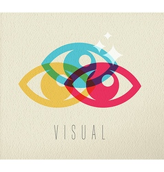 Visual eye view icon concept color design vector