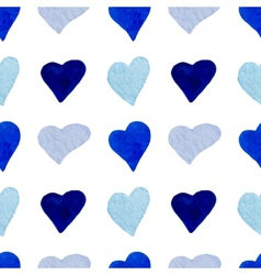 Watercolor blue hearts seamless pattern vector image