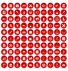 100 college icons set red vector