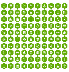 100 winter holidays icons hexagon green vector image