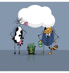 Business deal cat and cow vector
