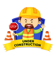 Occupation wordcard with word under construction vector image