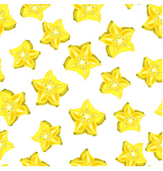 Seamless pettern with star fruit carambola vector