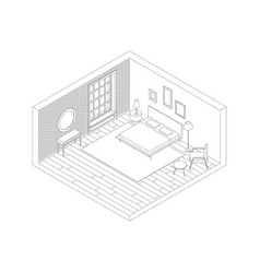 Bedroom color line vector