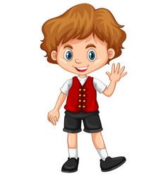 Boy wearing red vest vector