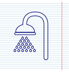 Shower sign navy line icon on notebook vector