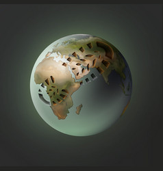 Planet with footprint vector