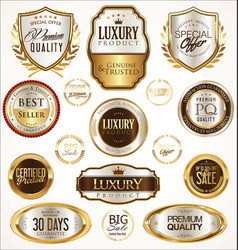 Gold and silver labels with laurel wreath vector