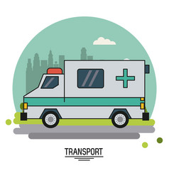 Colorful poster of transport with ambulance vector
