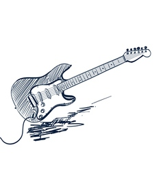 Electric guitar sketch vector