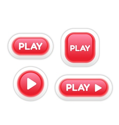 Set of play buttons isolated on white vector