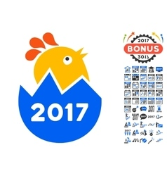 2017 hatch chick icon with 2017 year bonus symbols vector