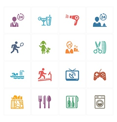Hotel icons set - colored series vector