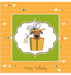Funny birthday card with dog vector
