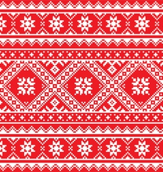 Ukrainian slavic folk art knitted red and white vector