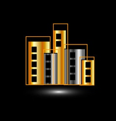 Gold and silver skyscrapers vector image