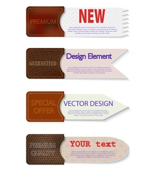 Set of abstract paper tags with leather pockets vector