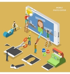 Mobile photo editor flat isometric concept vector