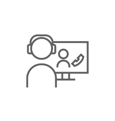 Online education line icon vector