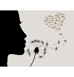 Girl and a dandelion2 vector