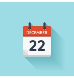 December 22 flat daily calendar icon vector
