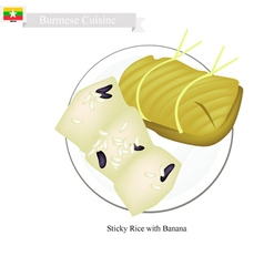Steamed sticky rice with banana vector