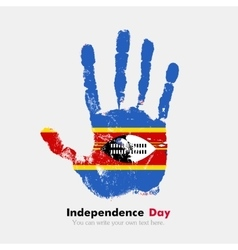 Handprint with the flag of swaziland in grunge vector