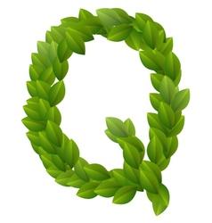 Letter q of green leaves alphabet vector