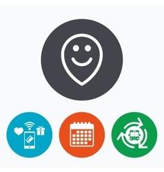 Happy face map pointer symbol smile icon vector