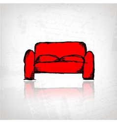 Red sofa on grunge background vector image