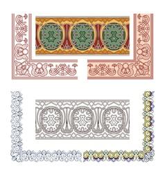 Art Nouveau seamless borders vector image vector image