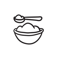 Baby spoon and bowl full of meal sketch icon vector