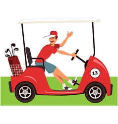 Caddy in a golf cart vector image