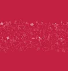 christmas line doodle seamless pattern vector image vector image