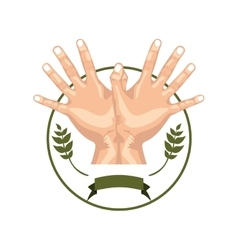 Circular border olive branch with hands forming a vector