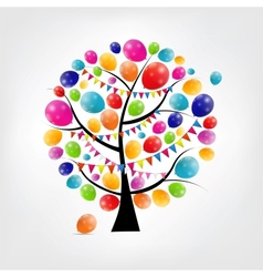 Color glossy balloons tree background vector image vector image