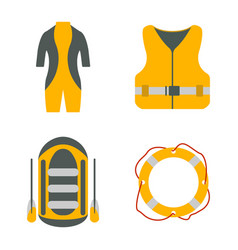 diving suit life jacket raft lifebuoy flat icon vector image