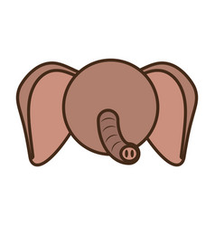 Face elephant cartoon animal vector