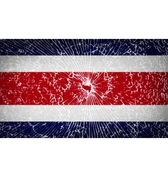 Flags Costa Rica with broken glass texture vector image