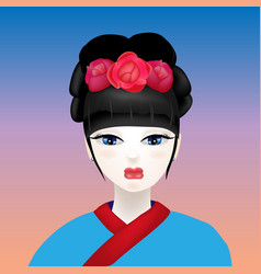 geisha with a white face vector image vector image