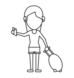 Girl tourist passport and baggage thin line vector