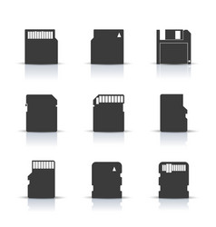 gray memory card icons vector image vector image