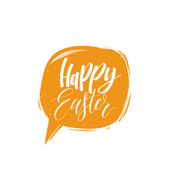Happy easter calligraphy in speech bubble vector