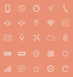 Mobile phone line icons on orange background vector