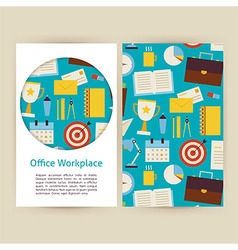 Office workplace business banners set template vector